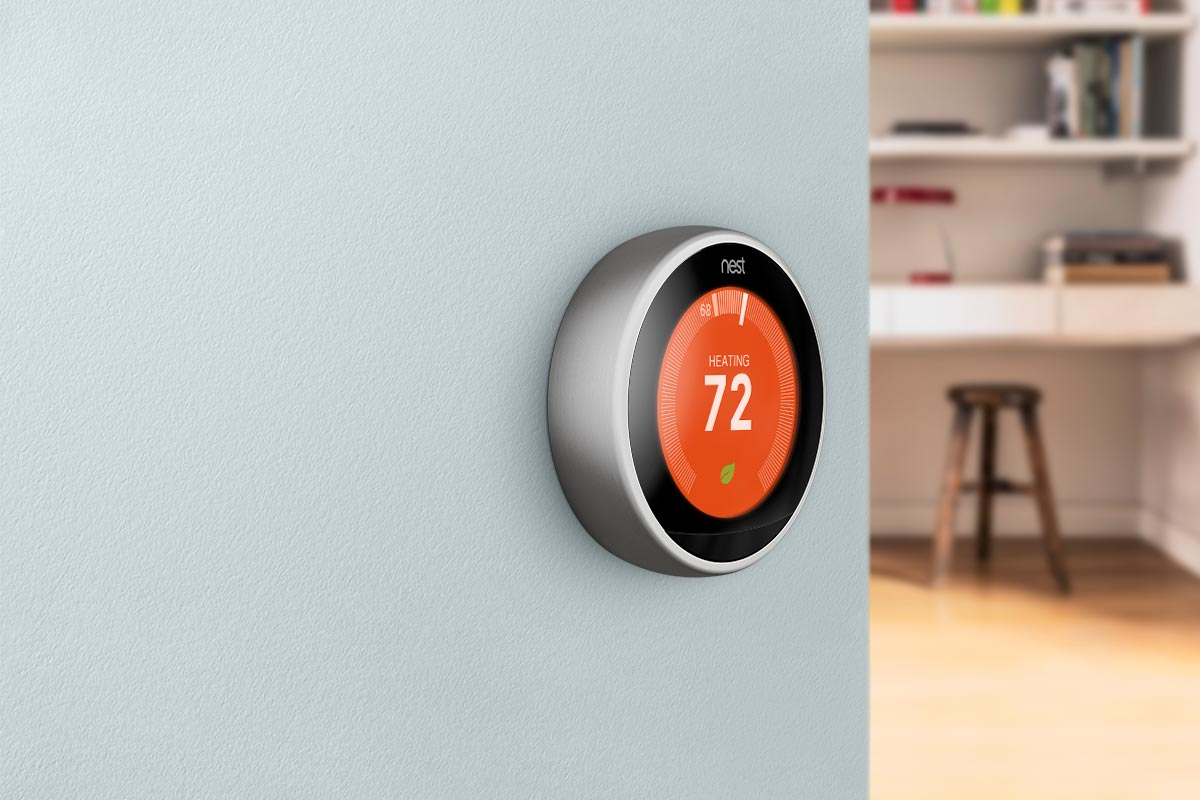 Nest Heating Control Smart Thermostat in Home